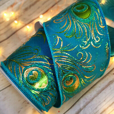 Luxury Gold Embossed Wired Peacock Christmas Ribbon Tree Glitter Blue Green Gold