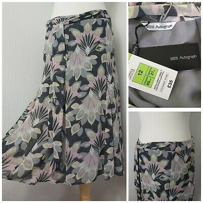 BNWT M&S Autograph Grey Flappy Floral Skirt Party Wedding Guest Cruise RRP£35