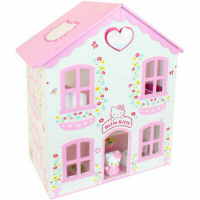 Hello Kitty Wooden Dolls House Kids Toy + 14 Piece Furniture Set + Figure - New