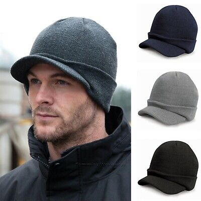 Peaked Beanie Hat Mens Womens Winter Warm Thermal Insulated Short Peak - RC60