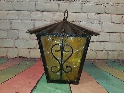 Antique Vintage Wrought Iron Glass Gothic Hanging Metal Lantern