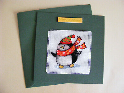 Completed Cross Stitch Penguin Christmas Card CC19AC