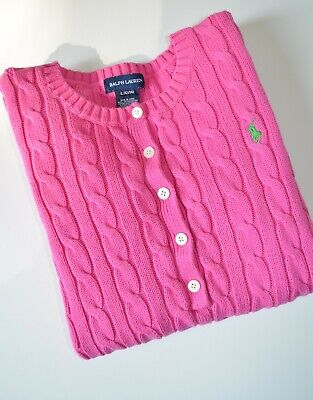 Ralph Lauren cable knit women jumper in pink color, size M, GB 12, VGC with logo