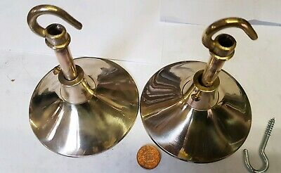 2 x Vintage CEILING ROSE 105mm chandelier hook Cast brass OLD 1940 French c119