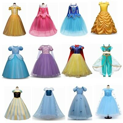 Girls Princess Elsa Belle Cinderella Halloween Cosplay Costume Party Tutu Dress
