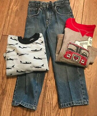 Baby Gap Old Navy Boys 5 5T Outfits, Jeans 2 long sleeve t-shirts EUC