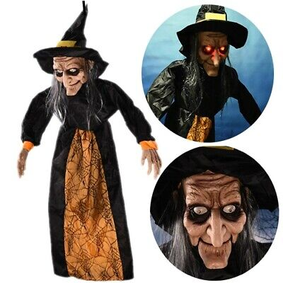 Animated Spell Speaking Witch Ghost Halloween Prop Yard Decoration Glowing Eyes