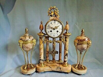 Fabulous Veined Marble Garniture Set Ormolu Mounts C1880.
