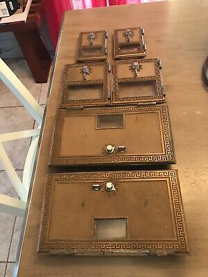 Lot 6 Antique Brass Post Office Box Doors