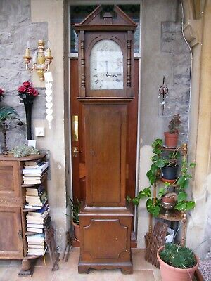 "Antique-Grandfather/Longcase Mahogany Clock-7ft 6""-Pendulum/Chimes-GWO-c1900"