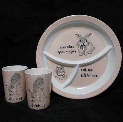 Childs Melamine Set Plate Cups Eat Up Drink Up Cute Animals Bloomingville