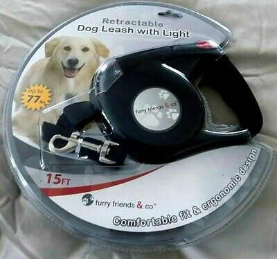 Furry Friends Retractable Black 15 Ft. LED Light Dog Leash -For Dogs To 77 Lbs.