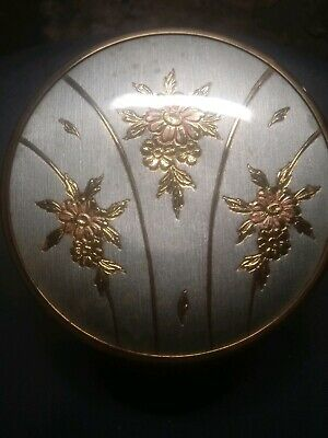 Art Deco Vanity Powder Box Glass Jar with Copper Edge Floral Chokin Pattern Lid