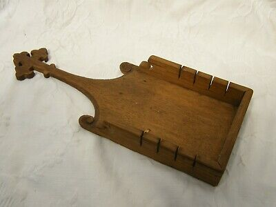 Antique-French Hand Carved Oak Cross Finial Communion Wafer Tray-c1900