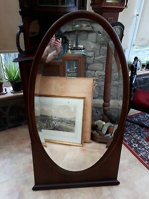 Antique-Victorian-Large Carved Mahogany Oval Cheval Dressing Mirror-circa 1880