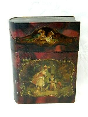Antique-Victorian Hand Painted Papier Mache Book Box-circa 1880