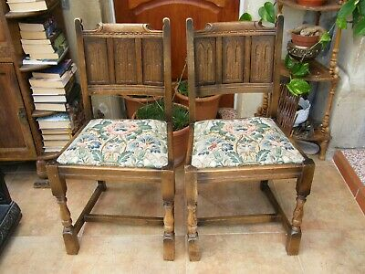 Vintage-Pair Of Carved Oak Drop Seat Church/Gothic Arch Carved Chairs-c1930s