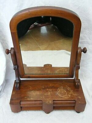 Antique-Carved Mahogany Cheval Style Shaving/Vanity Mirror With Drawers-c1890