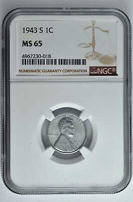 1943 S 1c Lincoln Steel Wheat Cent NGC MS 65