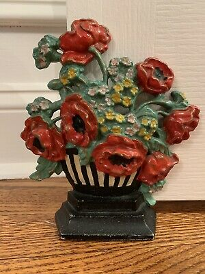 Antique HUBLEY 265 Cast Iron Black White Striped Poppies Flower Pot Door Stop