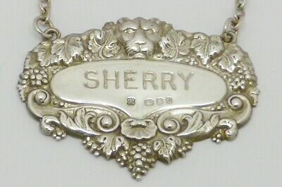 Beautiful Rare Vintage Solid Silver 'Sherry' Decanter Label Hm London 1967