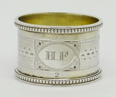 Beautiful Rare Aesthetic Movement Mid Victorian Solid Silver Napkin Ring Hm 1869