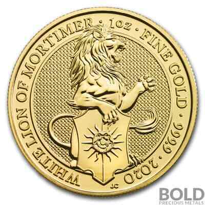 2020 Gold Great Britain Queen's Beasts (The White Lion) - 1 oz