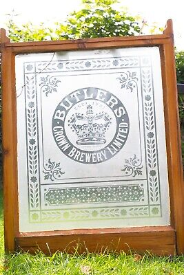 Reclaimed antique etched glass Butlers Crown Brewery pub window in frame