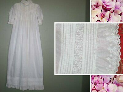Antique Dress Baby Girls Dress~Christening Baptismal Gown-embroidery lace
