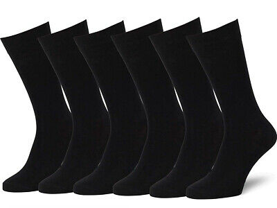 New 6 Pairs Mens Black Classic Dress Socks Cotton Casual Fashion Crew Solid Sox