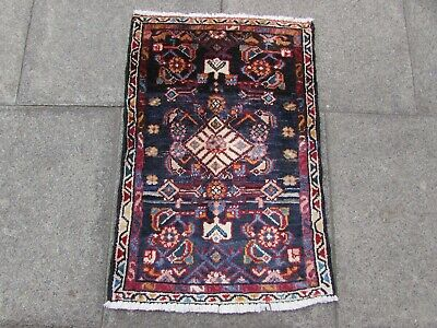 Vintage Worn Hand Made Traditional Rug Oriental Wool Blue Small Rug 84x56cm
