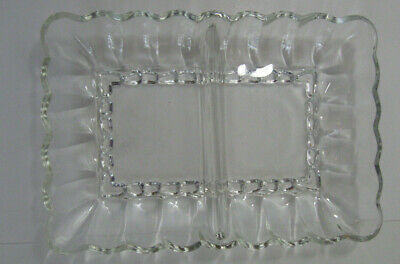 Vintage Clear Glass Divided Pickle Relish Candy Nut Dish Rectangle Scalloped