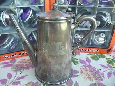 Vintage~The Oliver Cromwell~Smith Bros Silver Soldered COFFEE POT~TRAIN/Railroad