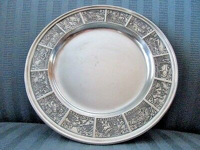 William KERR Baby Plate STERLING SILVER Child Nursery Rhyme Figural Animals 5240