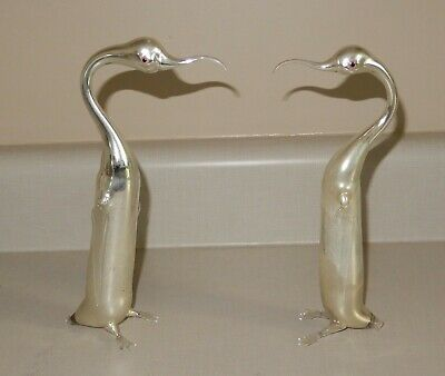 """Vintage hand-Blown German Mercury Glass Abstract Penguin Figurines 9"""" Tall MINT"""