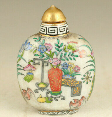 Rare chinese porcelain hand painting flower statue snuff bottle decoration