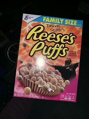 Travis Scott X Reeses Puffs Cereal 100% New Box CACTUS JACK FAMILY SIZE