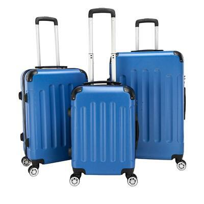 """3Pcs Luggage Set PC+ABS Trolley Spinner 20""""/24""""/28"""" Suitcase Hard Shell Blue"""