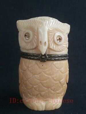 Collection Old Chinese Tibet Hand-carved vivid Owl Statue Snuff Box Trinket Gift