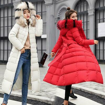 Womens Ladies Quilted Coat Puffer Fur Collar Hooded Long Jacket Winter Padded Sz