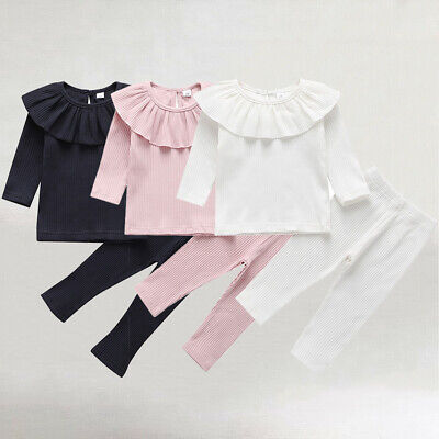 Toddler Baby Girl Long Sleeve Knitted Ruffle Tops T-Shirt Leggings Pants Clothes
