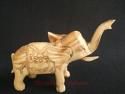 Collection Old Chinese Hand-carved Elephant Statue Decoration Wonderful Gift