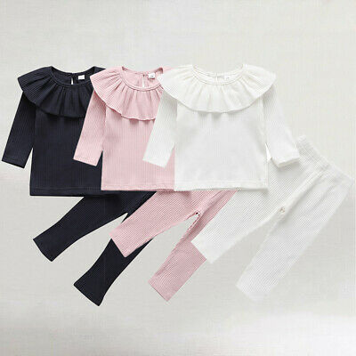 UK Toddler Baby Girl Solid Color Ruffle T-Shirt Leggings Pants Knitted Clothes