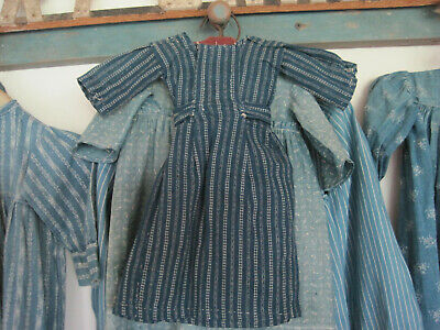 Old Primitive Blue and White Calico Fabric Textile Rag Doll Dress Hand Stitched