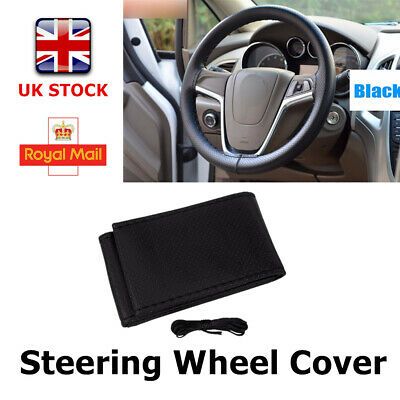 38cmCar Truck Leather Steering Wheel Cover With Needles and Thread Black DIY New