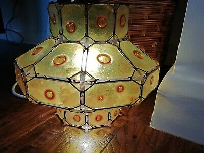 Rare antique handmade stained Glass pointel bullseye panes pendant ceiling light