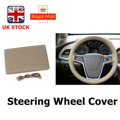 "Universal 14""-15"" Steering Wheel Cover + Needle &Thread Genuine Real Leather UK"