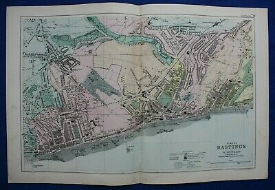 PLAN OF HASTINGS, original antique atlas map / city plan, George Bacon, 1895