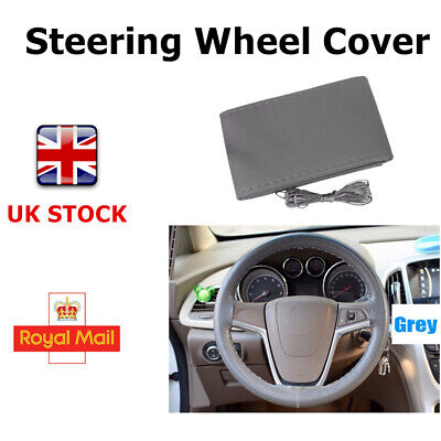 DIY Leather Car Auto Steering Wheel Cover With Needles and Thread Grey Good