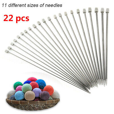 Set of 22pcs Stainless Single Pointed  Sewing Knitting Needles Tool Kits 2-8mm